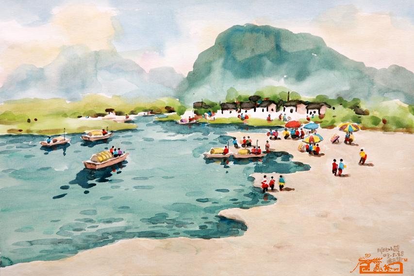 水粉海边游玩风景画